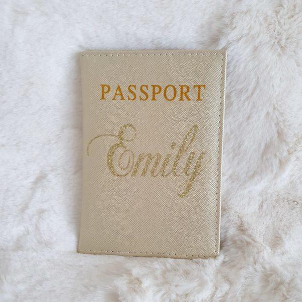 Etui passeport personnalisé couleur or