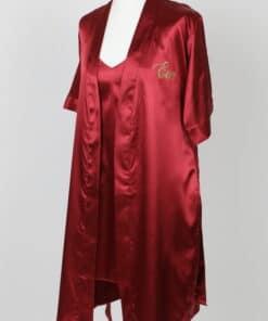 Peignoir rouge bordeaux et sa nuisette assortie personnalisés